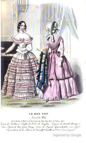 1846   Blackwood's Lady's Magazine and Gazette.   Frilled evening dress with scooped neckline and pink morning dress with multi-colored shawl and bonnet.                      via Google Books  (PD150)     suzilove.com