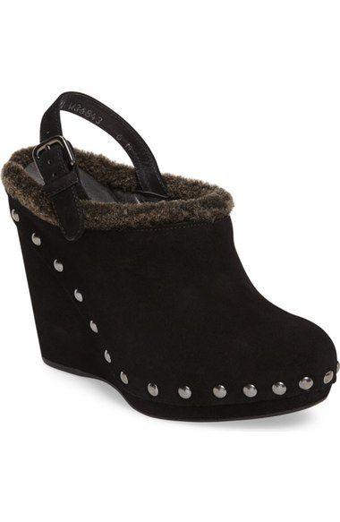 STUART WEITZMAN Genuine Shearling Wedge Clog (Women). #stuartweitzman #shoes #