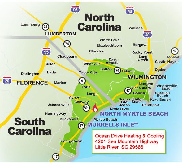carolina beaches map
