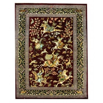 Persian Qum Silk 7 Hunting Scene. Shop this rug from woven treasures rugs with fitting and cleaning services   #house #home #rug