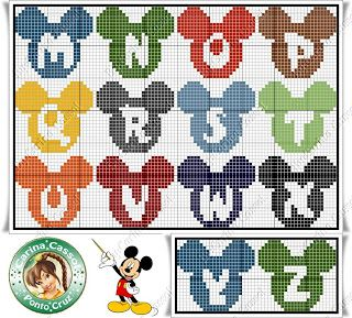 Gráficos Ponto Cruz Angela Bordados: alfabeto Lots of awesome alphabets, including Disney ones. Page is in Spanish, the direct link to the page with this alphabet is http://angelabordados.blogspot.com.br/search/label/alfabeto?updated-max=2013-07-02T13:17:00-03:00&max-results=20&start=16&by-date=false