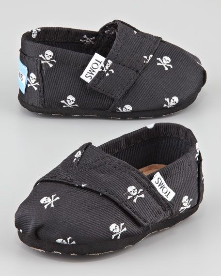 TOMS - Tiny Skull-Print Slip-On Shoes, Black