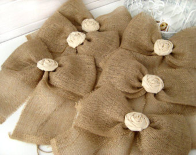 NEW Burlap Bow Rustic Wedding Fabric Rose Set of 20 Pew Bows   Aisle Decor on chairs or bench