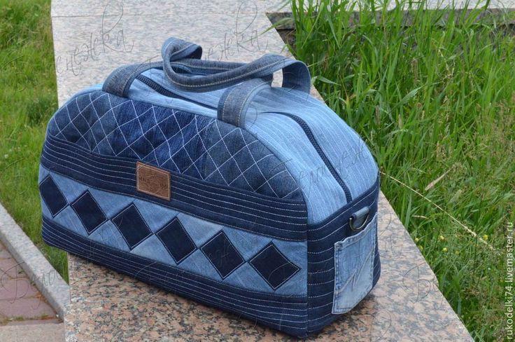 Купить Дорожная джинсовая сумка - синий, орнамент, джинсовая сумка, сумка из…