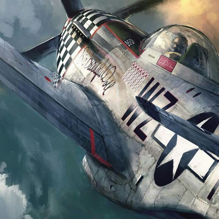 Big Beautiful Doll, Colonel John Landers, 55th Fighter Group (38th Fighter Squadron). Detail from a painting by John Wallin Liberto. The full painting is pinned to this same board.