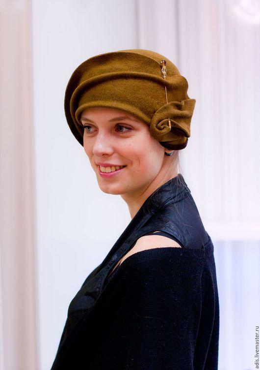 Шляпы ручной работы. Шляпа клош «табак». Наталия Эдис. Ярмарка Мастеров. Табак, шляпка клош, шляпа зимняя