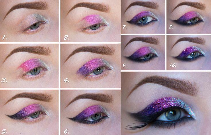Maquillaje para ojos en color morado y rosa