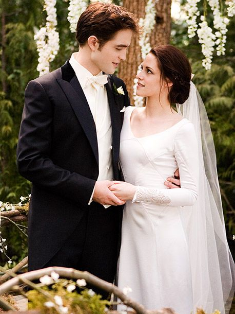 Edward Cullen and Bella Swan-Cullen from the wedding scene in The Twilight Saga: Breaking Dawn, Part I