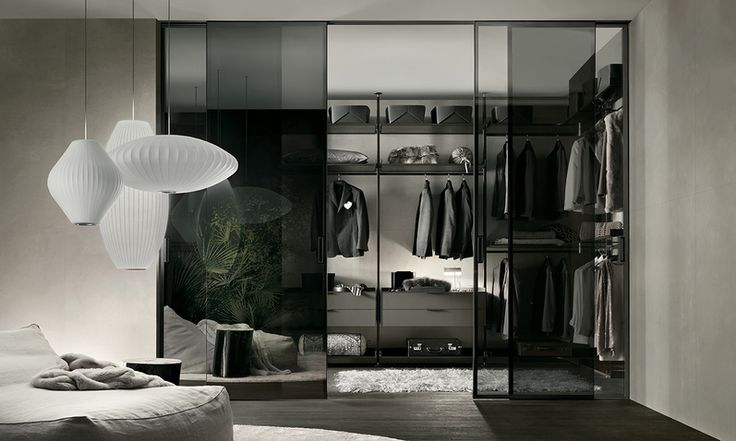 brown aluminium structure and shelves in grey transparent glass, wall suspended drawer units in caffè mat lacquered glass
