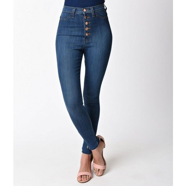 Retro Style Blue Denim High Waist Button Down Skinny Jeans High... ($58) ❤ liked on Polyvore featuring jeans, white high-waisted jeans, high waisted white skinny jeans, blue denim jeans, white high waisted jeans and high rise skinny jeans
