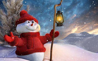 Scarica sfondi anno nuovo, pupazzo di neve, inverno, neve, vacanza, santo