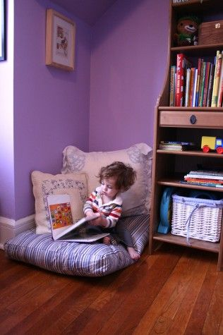 reading corner for kids, with a dog bed :)