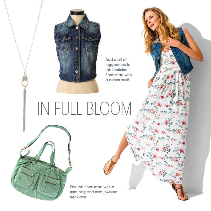 Sleeveless floral maxi paired with a mint bag and mint jeweled necklace