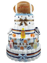 "My First Football Baby Boy Diaper Cake    Something special for the new baby boy!  He and his proud parents will all love this adorable ""My First Football"" Diaper Cake!    It's sure to be a ""slam dunk"" at the sports theme baby shower and would compliment baby boy's sports nursery as well!"