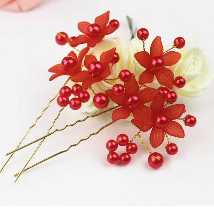 Hotsale Elegant Jewelry Tiara Women Bridal Wedding White Red Pearls Flower Hair Clip Headband Hairpin U Shape Bobby Pins HP004