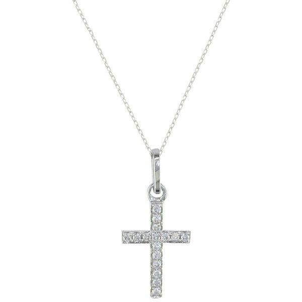 EWA 9ct White Gold Diamond Cross Pendant Necklace ($335) ❤ liked on Polyvore featuring jewelry, necklaces, cross pendant, diamond pendant, white gold diamond necklace, diamond cross necklace and diamond cross pendant