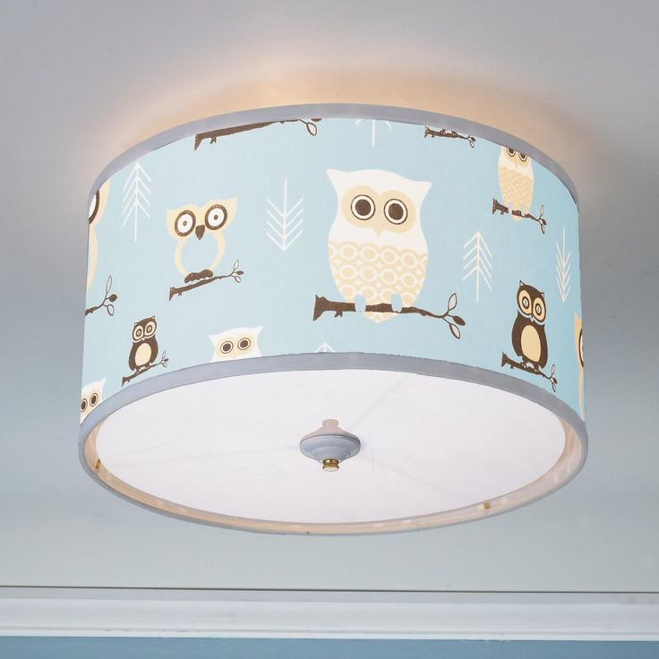 Owls drum shade ceiling light owl pink blue and acrylics for Ceiling light for kids room