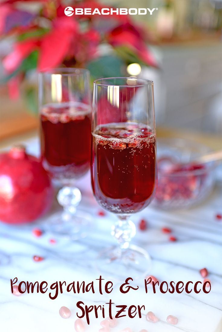 There's no need to get complicated to create a refreshing, mouthwatering mixed drink; sometimes simple is best, like this Pomegranate and Prosecco Spritzer. Two ingredients and you're done, leaving you more time for socializing instead of drink mixing. // cocktails // pomegranate // prosecco // spritzer // festive // party // holidays // drink // cheers // recipe // Beachbody // BeachbodyBlog.com