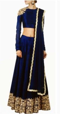 Fabron Navy Blue Embroidered Lehenga, Choli and Dupatta Set    #Lehenga, #NavyBlue, #Embroidered