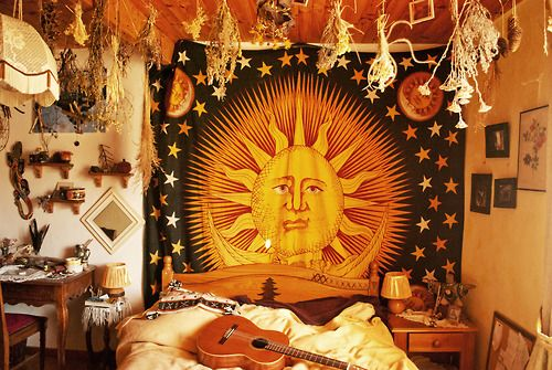 hippie boho indie with earth bohemian mandala HERBS witch house mother earth sun and moon hippy room nature lovers claire dardaine hippy dec...