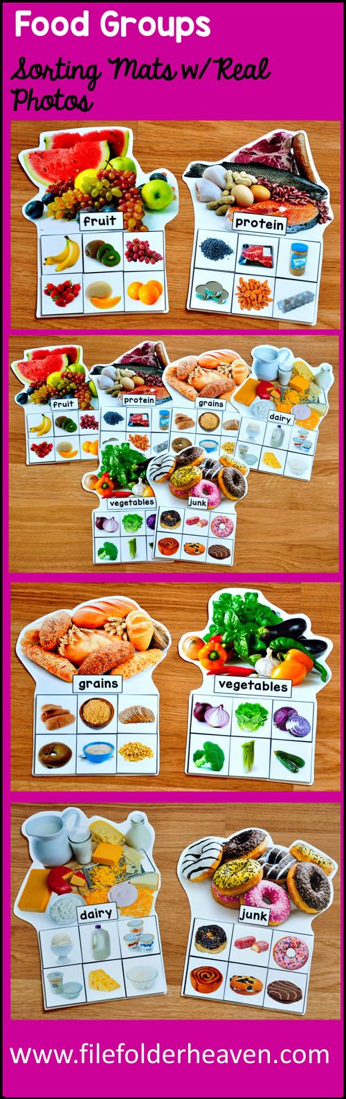 These Food Groups Sorting Mats With Real Photos include 6 unique sorting mats that focus on identifying the 5 food groups with a junk food themed bonus mat.  (Please see preview photos for details.)  At an independent workstation, center or language group, students complete the following sorting and classification activities.  Sorting Fruit Sorting Vegetables Sorting Meat/Protein Sorting Grains Sorting Dairy Sorting Junk Food