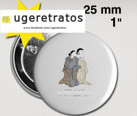 Chapitas personalizadas con la ilustración de la pareja