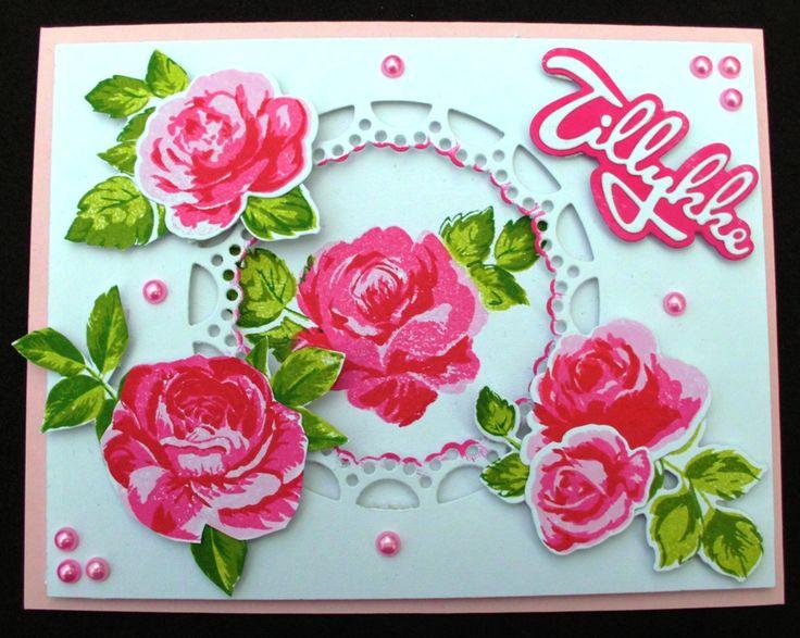 dette kort er lavet med Studiolight layred stamp no. 03 og Altenew Vintage roses