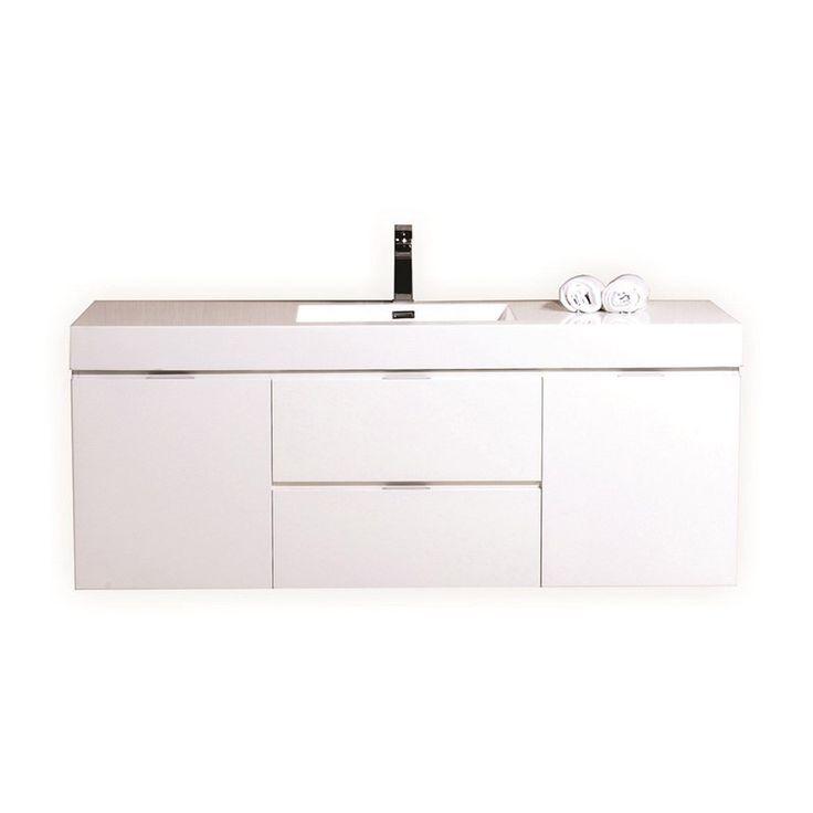 kubebath bliss 60 single sink high gloss white wall mount