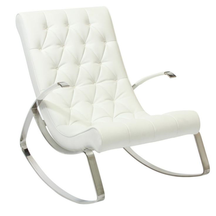 Furniture. White Upholstered Rocking Chair With Tufted Back And Steel Based As Well As Child\'s White Rocking Chair For Nursery Also Ottoman For Nursery. Simple And Elegant White Rocking Chair For Nursery