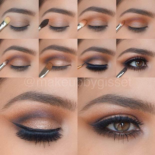 Brown and Gold Smokey Eye Tutorial