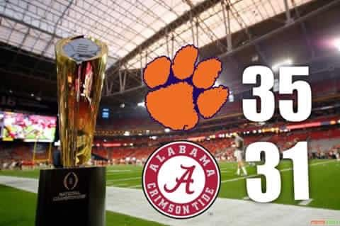 CONGRATULATIONS #ClemsonTigers FOR BECOMING #NationalChamps AGAINST #AlabamaCrimsonTide #CLEMvsBAMA We Lost Last Year To Alabama In The #NationalChampionship This Is Redemption!
