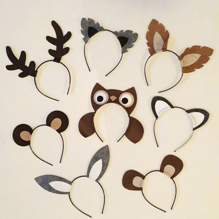 8 Headbands Woodland animal nature theme forest ears birthday party favors supplies camping woods