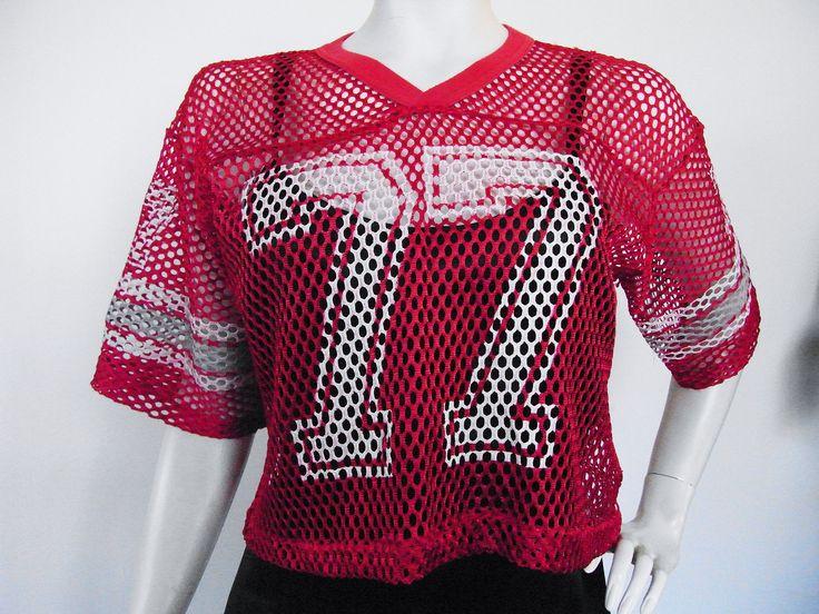 Vintage 80s red mesh sports crop top  #style #styleinspiration #red #sportswear #streetstyle #streetwear #vintage #sporty #athletic #etsy #etsyshop #etsyfinds #mesh #tshirt #top #croptop #sheer #number