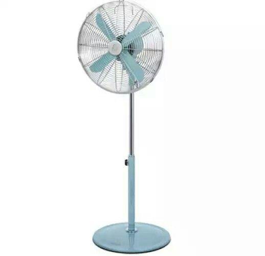 Retro pedestal fan in blue