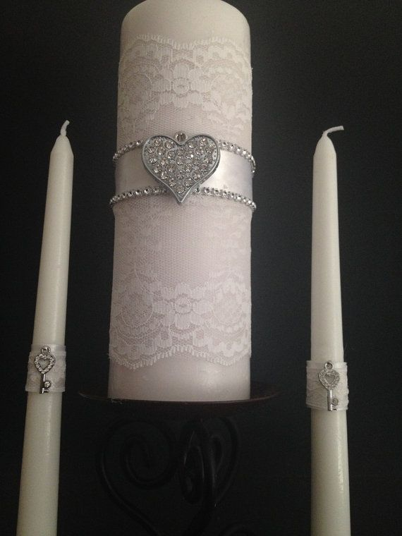 lace and rhinestone heart unity candle set. Key to by BridesKiss
