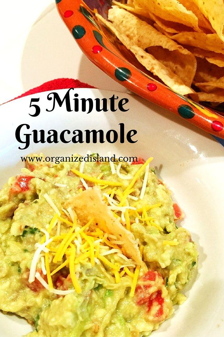 5 Minute Guacamole Recipe - so quick to make and delightfully tasty!    #5minute #guacamole #recipe #easyrecipe #simplerecipe #appetizers #quick #avocado #avocados