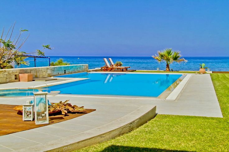 Hersonissos Beach Villa with private pool. Located on the beach in Hersonissos, Heraklion, Crete island. The Hersonissos Beach Villa is a brand new luxurious two-storey villa in Hersonissos Crete. It is the ultimate haven in a unique waterfront