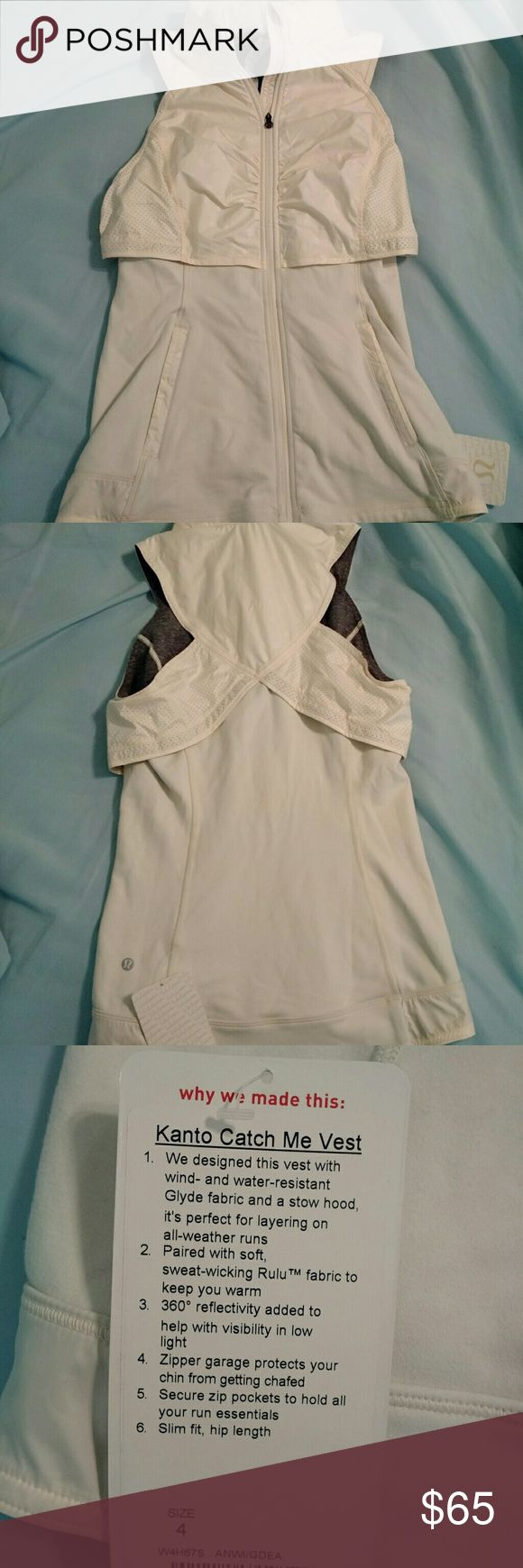 Kanto Catch Me Vest Light Lululemon Vest. Super comfortable, just too small for me now! It has a built in hood in the collar of the vest that can be put away or kept out lululemon athletica Tops