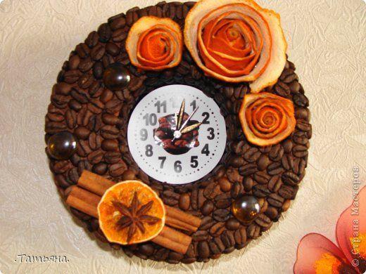 Поделка изделие кофейные часы Кофе Овощи фрукты ягоды Пенопласт фото 1