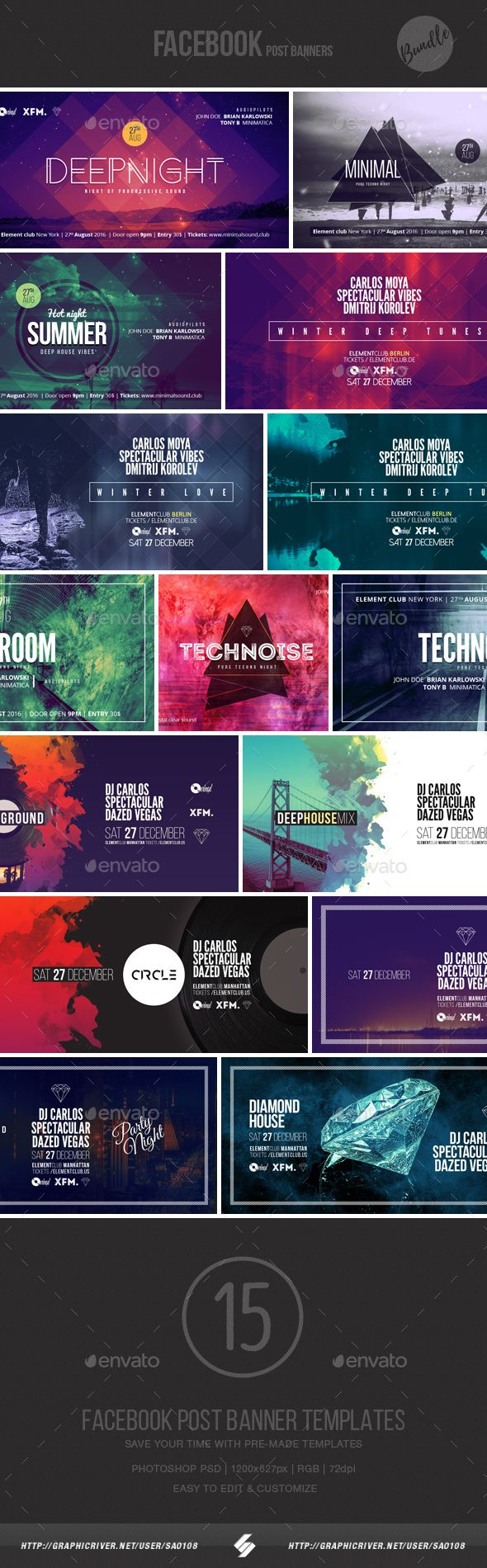 Electronic Music Event Facebook Post Banner Templates Bundle 1 - Social Media Web Elements