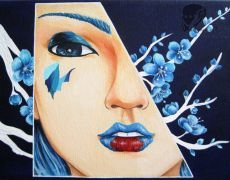 "Tablou pictat in culori acrilie ""Blue Sakura"""
