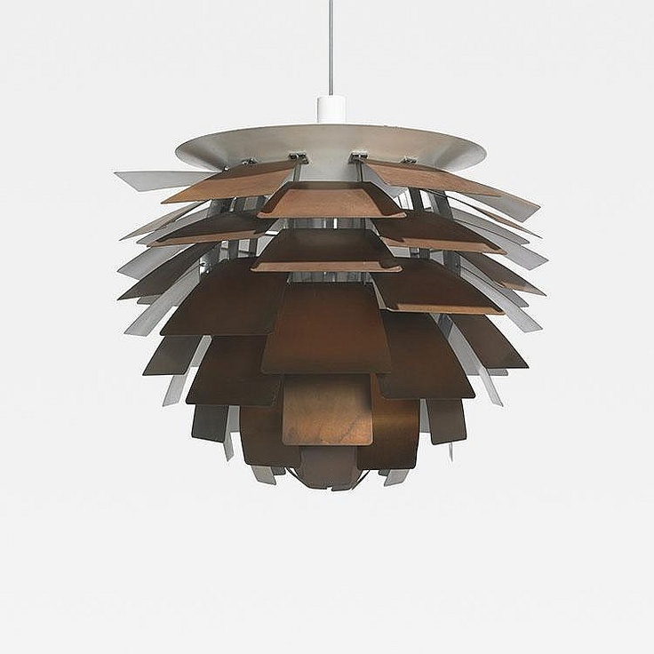 Poul Henningsen Artichoke lamp Louis Poulsen Denmark, 1957 copper, enameled aluminum, chrome-plated steel 28 dia x 26 h inches