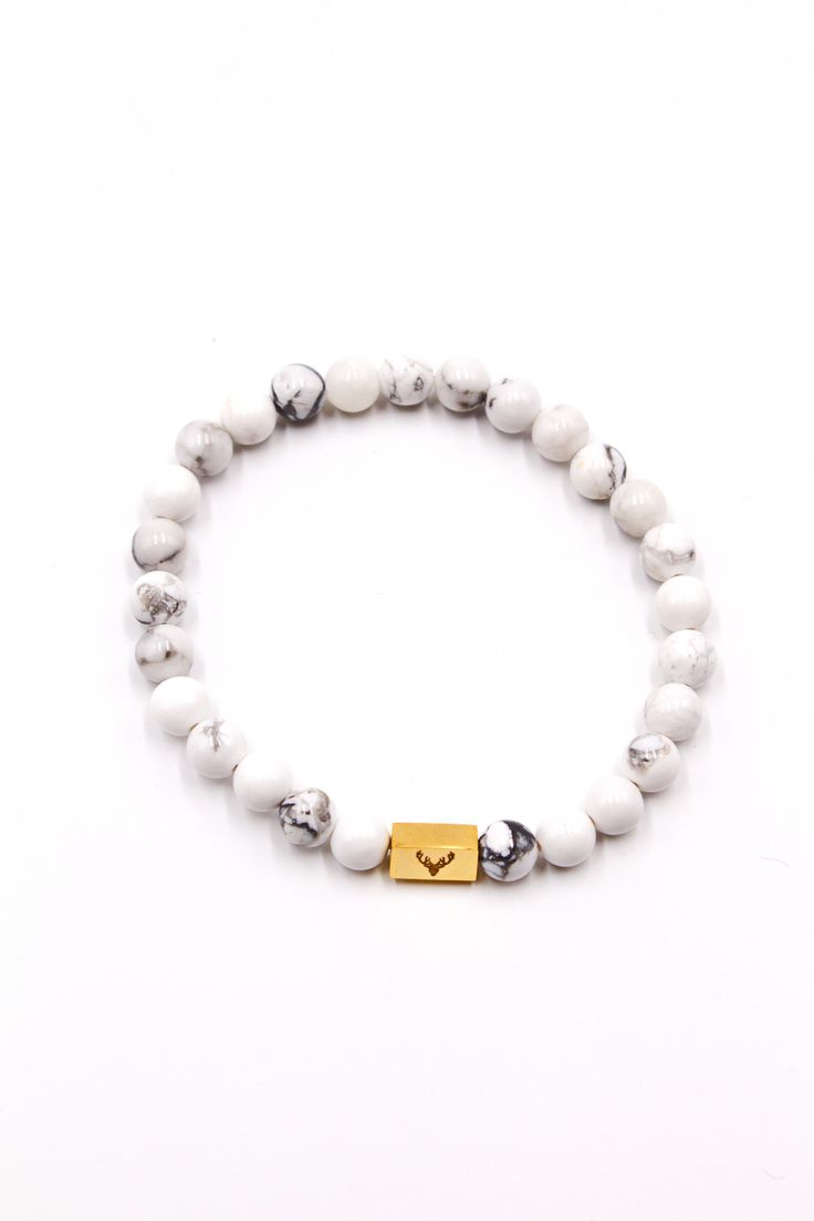Men's Beaded Bracelet White Howlite 8mm