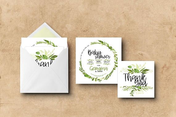 Baby Shower Invitation & Thank You Card  Wreath Greenery