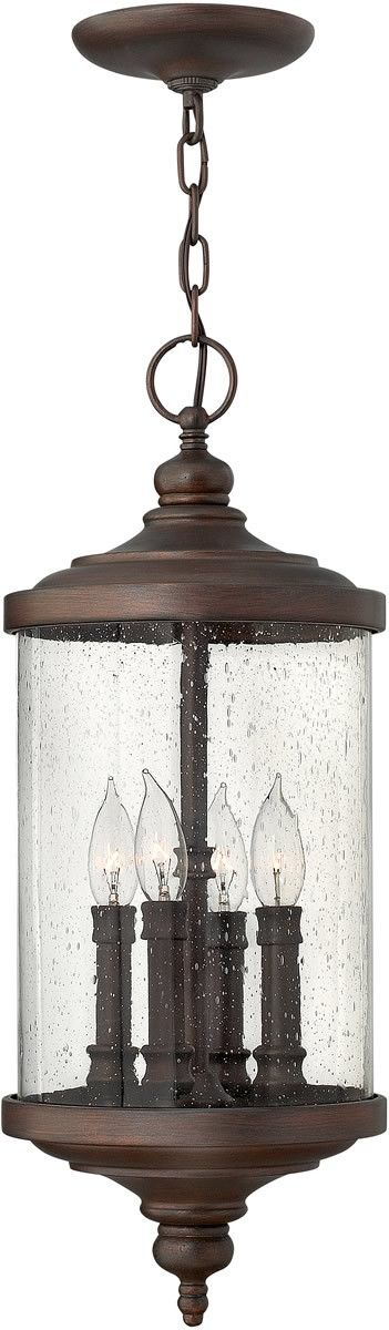 "0-075672>9""""w Barringtons 4-Light Outdoor Hanging Light Victorian Bronze"