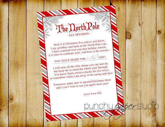 ELF Goodbye Letter for Christmas Eve North by punchypaperstudio