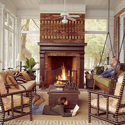 Cozy Screened Fall Porch - Fall's Best Outdoor Rooms - Southern Living