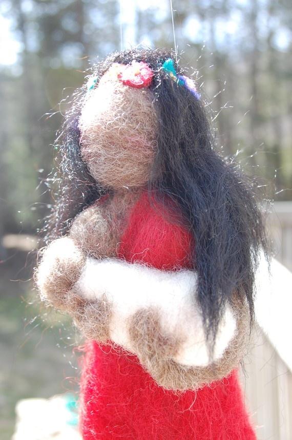 Dark Skinned Wool Breastfeeding Doll by ElementalHandcrafts, $40.00