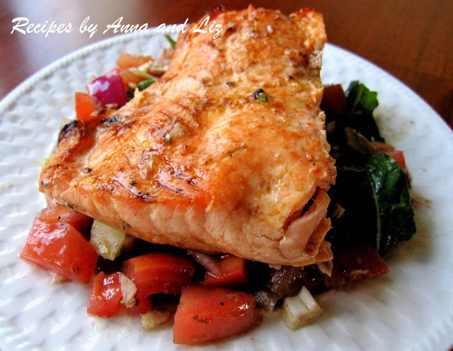 2 Sisters Recipes... by Anna and Liz: Grilled Salmon Over Balsamic Salad