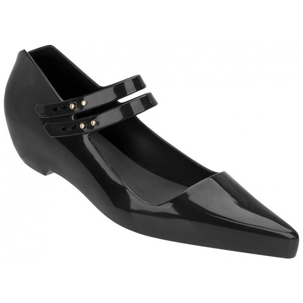 Karl Lagerfeld + Melissa Shoes KL Melissima Black Gloss (11.820 HUF) ❤ liked on Polyvore featuring shoes, black pointed toe shoes, black shoes, strappy shoes, black strappy shoes and pointed toe shoes